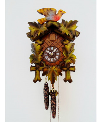 Black Forest cuckoo clock 5 colored leaves